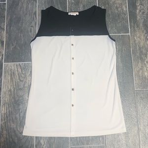 Claudia Richard Black & White Sleeveless Blouse